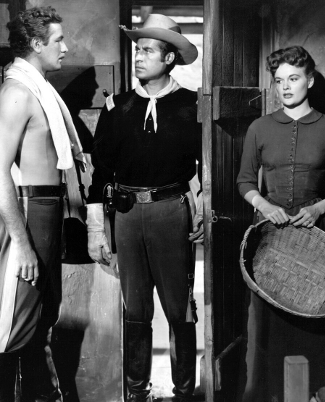 Don Taylor as Lt. Linus Delaney, John Hodiak as Capt. Ben Lorrison and Jean Hagen as Martha Conovan in Ambush (1950)