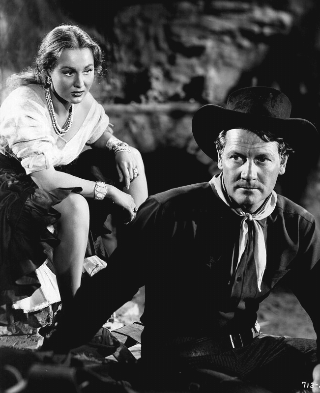 Virginia Mayo as Colorado Carson and Joel McCea as Wesley McQueen in Colorado Territory (1949)