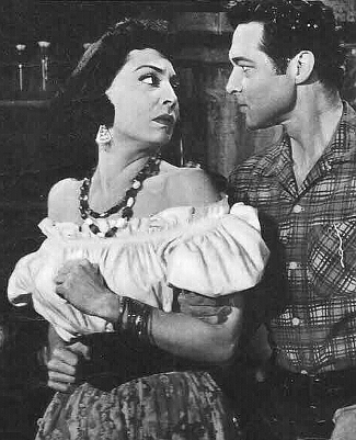 Marie Windsor as Tonya with Anthony Dexter as Billy the Kid in The Parson and the Outlaw (1957)