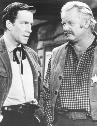 Hugh Marlowe as Judge Jonas Stone and Alan Hale Jr. as Sheriff Millard in The Long Rope (1961)