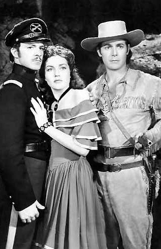 Dana Andrews as John Fremont, Lynn Bari as Dolores Murphy and Jon Hall as Kit Carson in Kit Carson (1940)