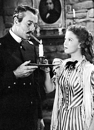 Henry Fonda as Lt. Col. Owen Thursday with Shirley Temple as Philadelphia Thursday in Fort Apache (1948)