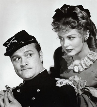 Red Skelton as Aubrey Filmore with Arlene Dahl as Sallyann Weatharby in A Southern Yankee (1948)