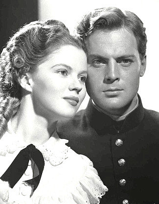 Shirley Temple as Philadelphia Thursday and John Agar as 2nd Lt. O'Rourke in Fort Apache (1948)