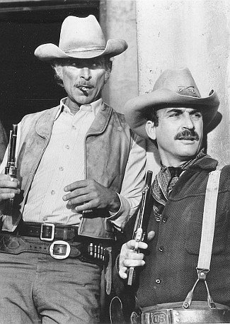 Lee Van Cleef as Chris Adams with James Sikking as Capt. Andy Hayes in The Magnificent Seven Ride! (1972)