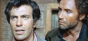 Mark Damon as Johnny Lassiter and Anthony Steffen as Fed Dalton in Dead Men Don't Count (1968)