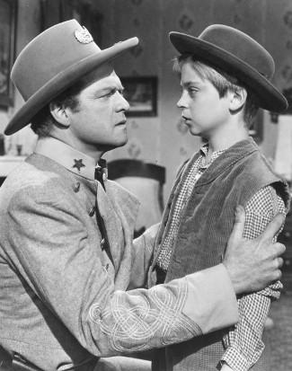 Van Heflin as Maj. Neal Benton with Tommy Rettig as Larry Bishop in The Raid (1954)