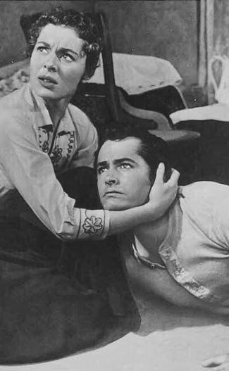Viveca Lindfors as Helga Swenson and John Derek as Davey Bishop in Run for Cover (1955)