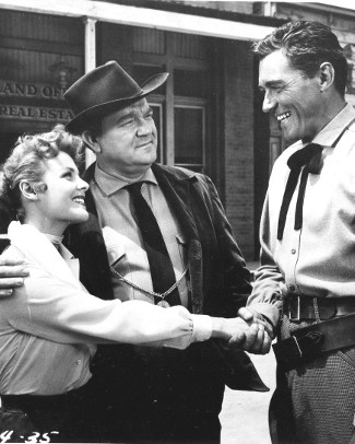Kathleen Crowley as Fran Maroon, Hugh Sanders as Martin Maroon and William Bishop as Glen Hayden in The Phantom Stagecoach (1957)