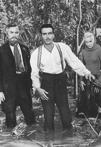 Nigel Patrick as Professor Stiles, Montgomery Clift as John Shawnessy and Eva Marie Saint as Nell Gaither in Raintree County (1957)