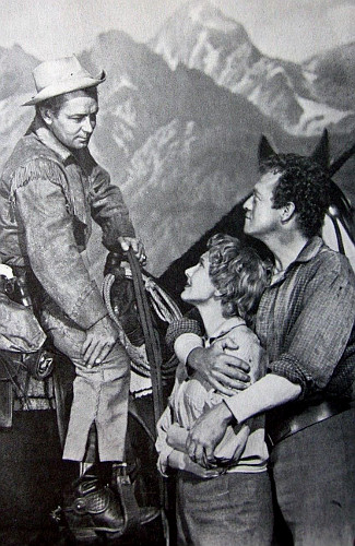 Alan Ladd as Shane, Jean Arthur as Marian Starrett and Van Heflin as Joe Starrett in Shane (1953)