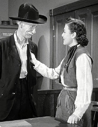 Clem Bevans as Doc Mason and Sheila Ryan as Laura Mason in The Gold Raiders (1951)