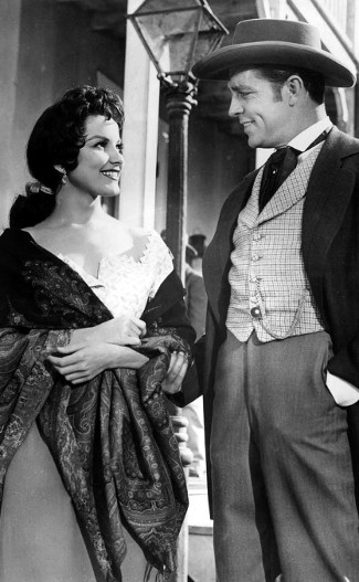 Debra Paget as Melanie Barbee with Dale Robertson as Capt. Vance Colby in The Gambler from Natchez (1954)