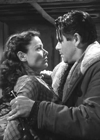 Gene Tierney as Marcia Stoddard and Glenn Ford as Jim Canfield in The Secret of Convict Lake (1951)