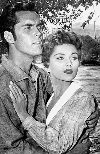 Jeffrey Hunter as Owen Brown and Debra Paget as Elizabeth Cark in Seven Angry Men (1955)
