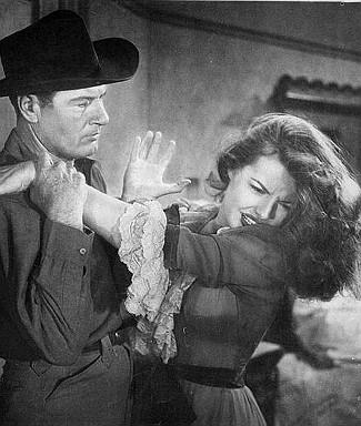 Richard Arlen as Charles Storrs and Kasey Rogers (Laura Elliott) as Josephine Storrs in Silver City (1951)