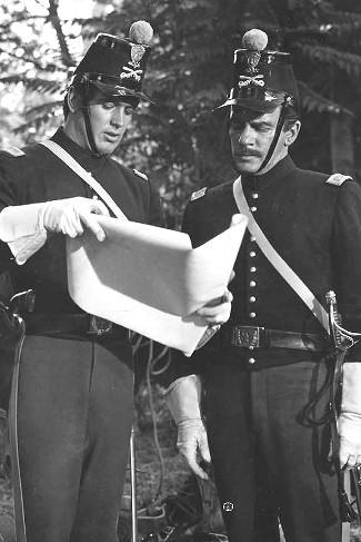 Rock Hudson as Lt. Lance Caldwell and Richard Carlson as Maj. Harlan Degan in Seminole (1953)