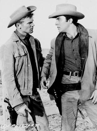 Tab Hunter as Ed Hackett and James Darren as Davy Hackett in Gunman's Walk (1958)