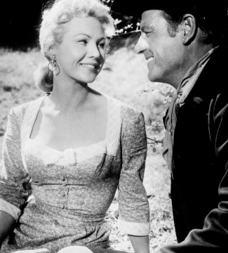 Virginia Mayo as Ellen with Joel McCrea as Ned Bannon in The Tall Stranger (1957)