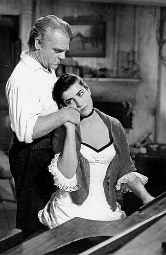 James Cagney as Jeremy Rodock and Irene Pappas as Jocasta Constantine in Tribute to a Bad Man (1956)