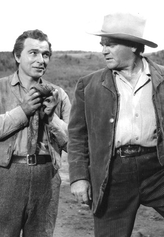 Stephen McNally as McNulty and James Cagney as Jeremy Rodock in Tribute to a Bad Man (1956)