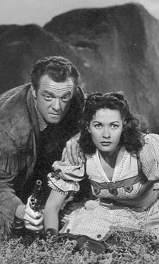 Van Heflin as Jim Bridger with Yvonne DeCarlo as Julie Madden in Tomahawk (1951)