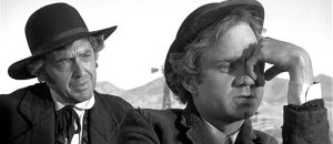 Charles Aidman as Ben Antrim and Michael Pollard as Bill Bonney in Dirty Little Billy (1972)
