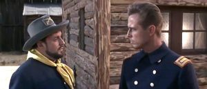 Angel Ortiz as the Sergeant and Joachim Hansen as Capt. Jackson in Black Eagle of Sante Fe (1965)