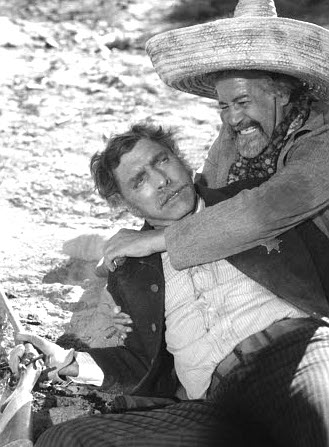 Burt Lancaster at Bob Valdez and Frank Silvera as Diego in Valdez is Coming (1971)