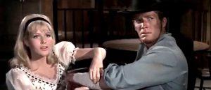Olga Schoberova as Lana Miller with Brad Harris as Cliff McPherson in Black Eagle of Sante Fe (1965)