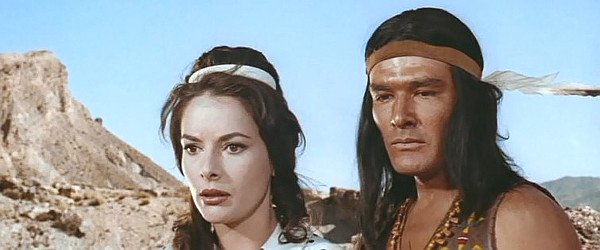 Karin Dor as Cora Munroe and Daniel Martin as Unkas in The Last Tomahawk (1965)