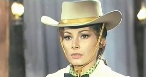 Luisa Barratto (Liz Barrett) as Maggie in Gunman Sent by God (1968)