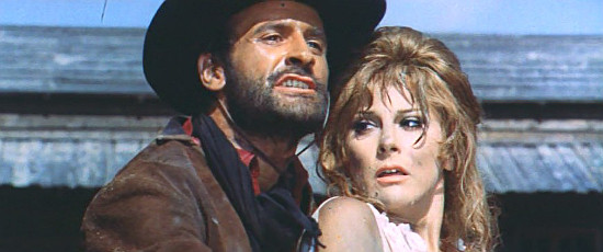 Pier Paolo Capponi (Norman Clar) as Joe Clane with Lucia Modugno as Mary Burton in My Name is Pecos (1966)