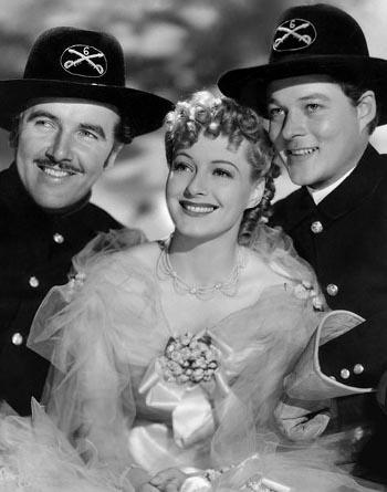 Preston Foster as Capt. Bill Starrett, Ellen Drew as Alice Hamilton and William Henry as Lt. John Steele in Geronimo (1939)