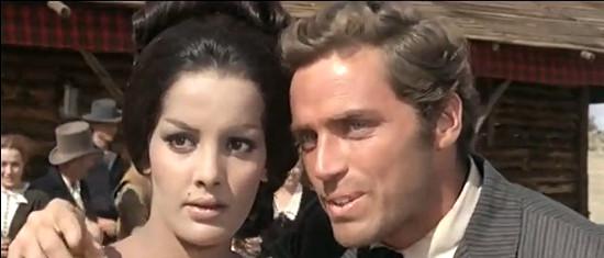 Agata Flori as Rosita Carson with David Bailey as Gregor MacGregor in Seven Guns for the MacGregors (1967)