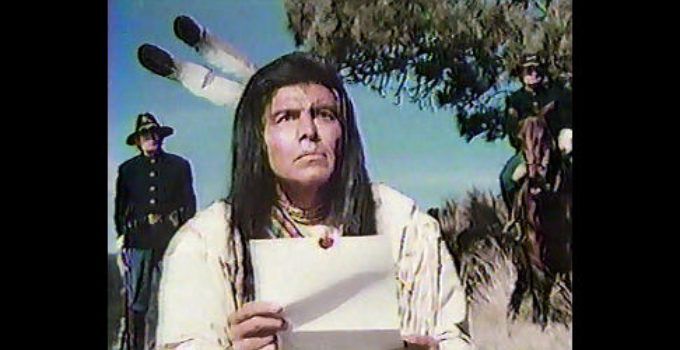 Ned Romero as Chief Joseph, distressed by news of changing federal policy toward his tribe in I Will Fight No More Forever (1975)